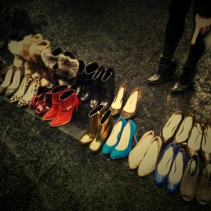 Shoes backstage at Rebecca Minkoff