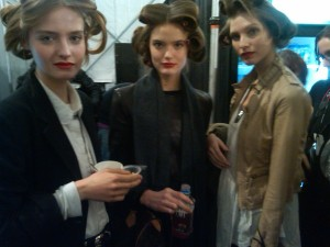 Models backstage at Milly NYFW